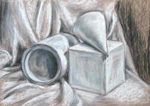 Уголь, пастель