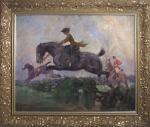 A.K. Striegler. Horse race. Oil on canvas.